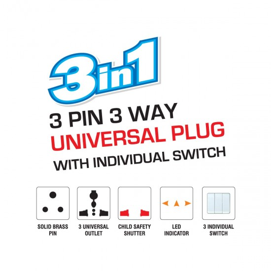 3 PIN 3 WAY UNIVERSAL PLUG WITH INDIVIDUAL SWITCH.